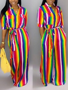 Red-Yellow Rainbow Striped Pockets Sashes Half Sleeve Jamaica Casual Wide Leg Long Jumpsuit
