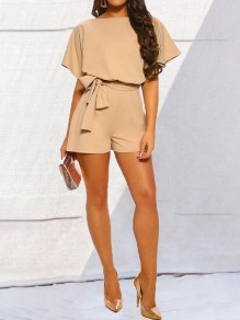 Apricot Sashes Buttons Short Sleeve High Waisted Elegant Short Jumpsuit