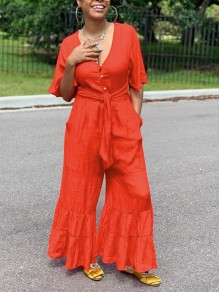 Red Buttons Belt Pockets Ruffle V-neck Party Wide Leg Palazzo Long Jumpsuit