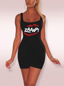 "Combinaison short ""zaaap!"" sangle spaghetti imprimée moulante casual sport noir"