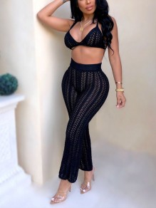 White Two Piece Cut Out Halter Neck V-neck Fishnet Sheer Beachwear Party Bell Bottomed Flares Long Jumpsuit