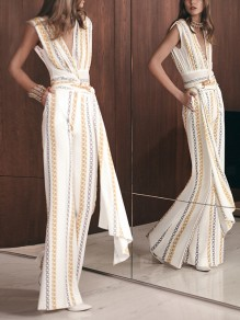 White Pockets Going out Comfy Fashion High Waisted Long Jumpsuit