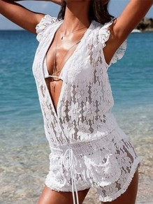 White Sashes Lace Pockets Drawstring Waist Outdoors Beach Cover Up V-neck Women Summer Jumpsuit