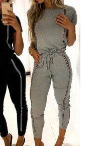 Grey Drawstring Pockets Bodycon Comfy One Piece Outdoors Jumpsuit