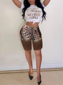 Brown Patchwork Tassel Leopard Print High Waisted Two Piece Casual Short Jumpsuit
