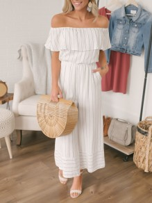 White Striped Ruffle Pockets Off Shoulder Short Sleeve Fashion Nine's Jumpsuit