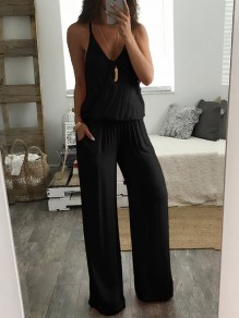 Black Drawstring Backless Bodycon Spaghetti Strap V-neck Going out Jumpsuit