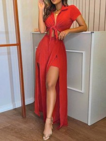 Red Kont Deep V-neck Thigh High Side Slits Two Piece Party Wide Leg Palazzo Long Jumpsuit