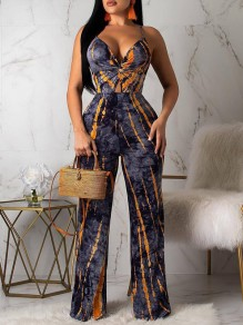 Navy Blue Tie Dyeing Spaghetti Strap Backless V-neck Bohemian Beachwear Wide Leg Palazzo Long Jumpsuit