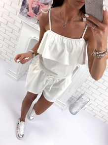 White Cascading Ruffle Drawstring Bodycon Spaghetti Strap Going out Jumpsuit