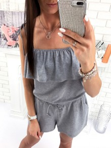 Grey Cascading Ruffle Drawstring Bodycon Spaghetti Strap Going out Jumpsuit