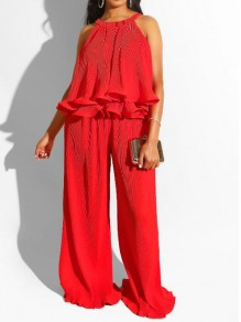Red Pleated Ruffle Halter Neck Two Piece Bohemian Wide Leg Long Jumpsuit