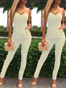 White Going out Comfy Fashion High Waisted Long Jumpsuit