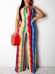 Red Striped Cut Out Halter Neck Backless Jamaica Reggae One Piece Bohemian Long Jumpsuit