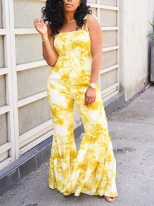 Yellow Tie Dyeing Spaghetti Strap Pleated Bohemian Bell Bottomed Flares Long Jumpsuit