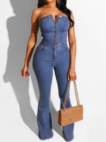 Dark Blue Single Breasted Bandeau Off Shoulder Flare Bell Bottom Denim Long Jumpsuit