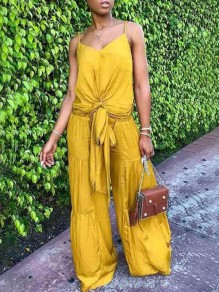 Yellow Drawstring Pleated Spaghetti Strap Casual Wide Leg Long Jumpsuit
