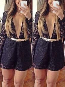 Black Patchwork Lace One Piece Long Sleeve Deep V-neck Going out Jumpsuit