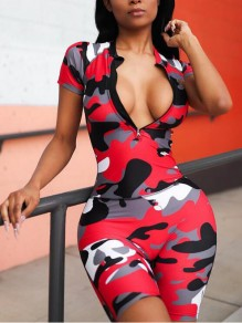 Red Camouflage Zipper One Piece Deep V-neck Casual Short Jumpsuit