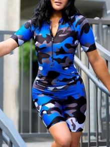 Royal Blue Camouflage Zipper One Piece Deep V-neck Casual Short Jumpsuit