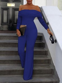 Royal Blue Patchwork Grenadine Off Shoulder Backless Flare Bell Bottom Elegant Party Long Jumpsuit