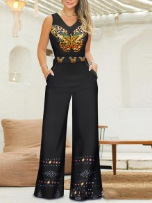 Black Butterfly Print Pockets Elegant Party Wide Leg Palazzo Long Jumpsuit