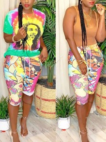 Green Tie Dyeing Bob Marley Two Piece Pockets Short Jumpsuit