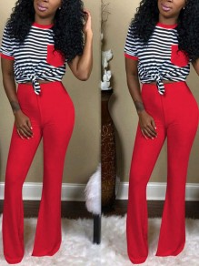 Red Striped Pockets Two Piece Bell Bottomed Flares Long Jumpsuit