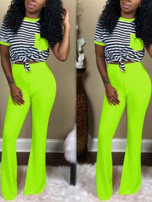 Neon Green Striped Pockets Two Piece Bell Bottomed Flares Long Jumpsuit