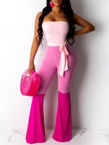 Pink Patchwork Sashes Off Shoulder One Piece Flare Bell Bottom Bohemian Long Jumpsuit