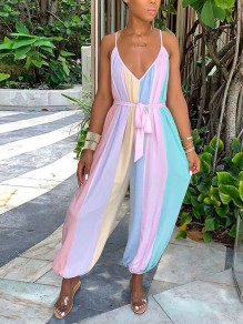 Pink Rainbow Striped Spaghetti Strap Belt Harem Bohemian Beach Long Jumpsuit