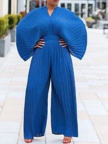 Royal Blue Pleated Dolman Sleeve High Waisted Ruched Flowy Bohemian Wide Leg Long Jumpsuit