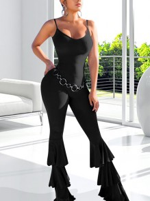 Black Cascading Ruffle Spaghetti Strap Bodycon Bell Bottomed Flares Long Jumpsuit