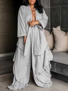 Grey Irregular Ruffle High Waisted Two Piece Casual Long Jumpsuit