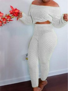 White Irregular Off Shoulder High Waisted Two Piece Cover-up Mesh Fishnet Long Jumpsuit