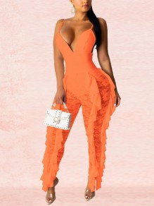 Neon Orange Patchwork Lace Cascading Ruffle Spaghetti Strap V-Ausschnitt schiere Party lange Overall