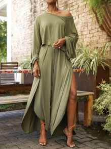 Army Green One Off Shoulder Front Slit Two Piece Bohemian Beach Wide Leg Palazzo Long Jumpsuit