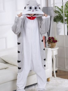 Grey Cheese Cat Pattern Hooded Harem Flannel Onesie Long Jumpsuit With Drop Seat