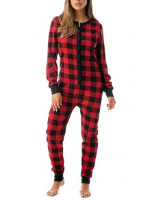 Red Plaid Buffalo Checkered Buttons Christmas Onesie Long Jumpsuit