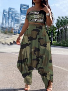 Army Green Camouflage LIMITED EDITON Print Draped Bandeau Haren Two Piece Long Jumpsuit