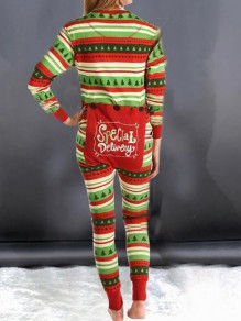 Green-Red Striped Christmas Tree Print Single Breasted Back Butt Flap Sleepwear Casual Long Jumpsuit