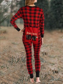 Red-Black Plaid Single Breasted Back Butt Flap Sleepwear Christmas Casual Long Jumpsuit