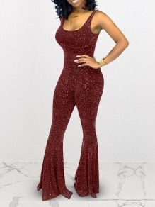 Red Bright Wire Spaghetti Strap Sparkly Glitter Birthday Bell Bottomed Flares Party Long Jumpsuit
