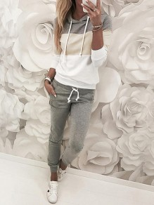 Grey Going out Comfy Fashion High Waisted Long Jumpsuit