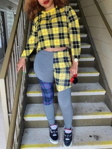 Yellow-Black Plaid Irregular Flannel High Waisted Two Piece Long Jumpsuit