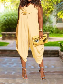 Yellow Pockets Pleated Draped Colla Plus Size Harem Casual Long Jumpsuit