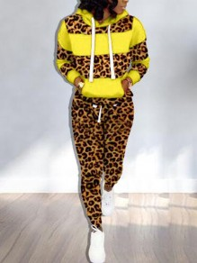 Yellow Patchwork Leopard Drawstring Pockets Hooded Two Piece Long Jumpsuit