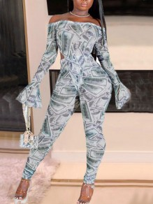 White-Grey Dollar Print Off Shoulder Flare Sleeve Clubwear Party Long Jumpsuit With Glove