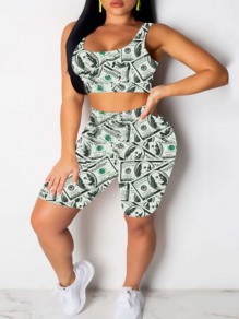 Grey Money Dollar Bill Print Two Piece Bodycon Party Short Jumpsuit