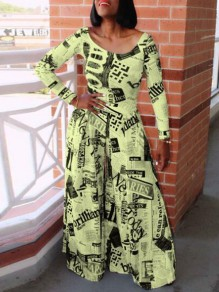 Yellow-Black Newspapers Print High Waisted Casual Wide Leg Long Jumpsuit